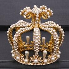Braut Krone Kopfschmuck Barock Kristall Perle Krone Gold Runde Crown Königin Tiara Crown Geburtstag Party Hochzeit Haar Zubehör
