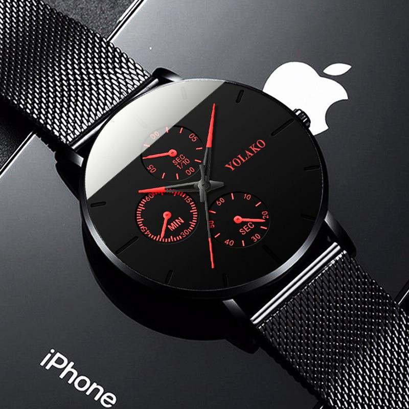 Mode Herren Business Schwarz Uhren Luxus Edelstahl Ultra Dünne Mesh Gürtel Quarz Männer Armbanduhr Casual Klassische Männliche Uhr