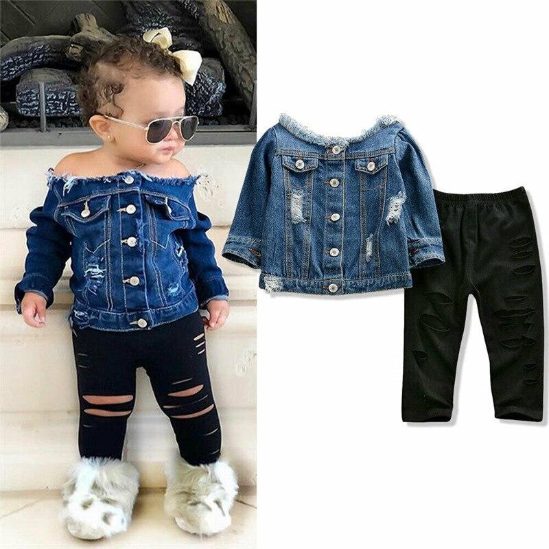 Новинка 2020 г.; милая одежда для маленьких девочек; джинсовая куртка с открытыми плечами; топы на пуговицах; рваные длинные штаны; детская оде...