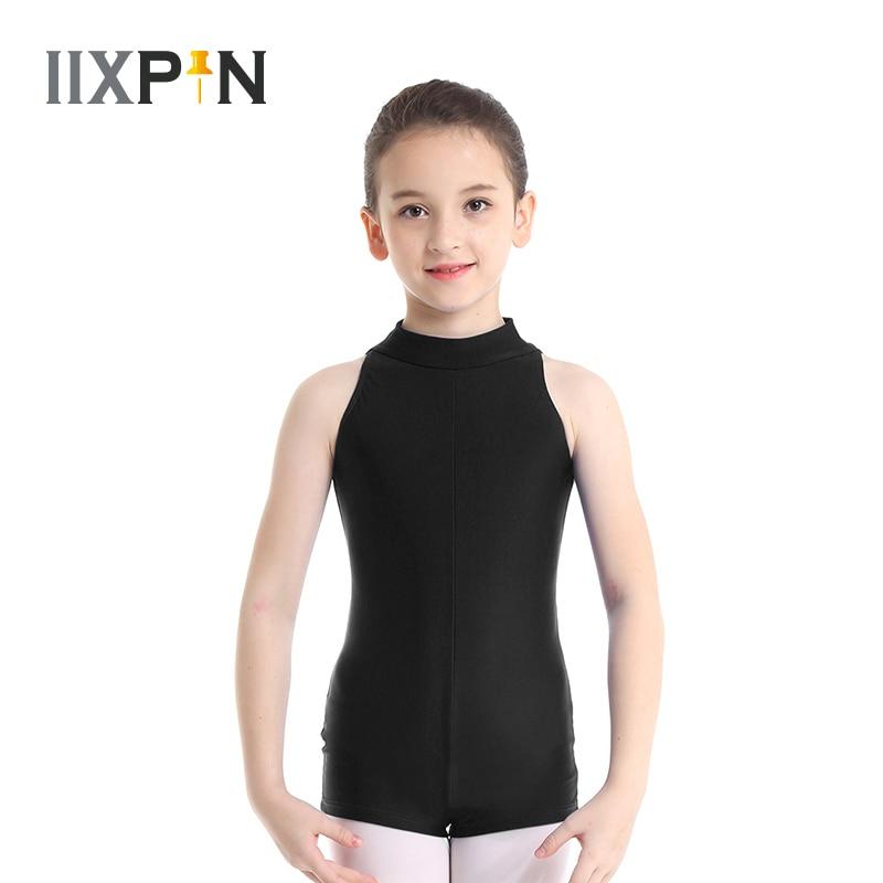 Kinder ballett trikots für Mädchen Ärmellose Mock Neck Reißverschluss Zurück Ballett Dance Gymnastik Trikot Overall Unitard Dancewear