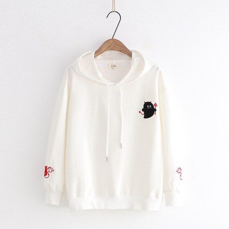 Lychee Girls Devil Embroidery Hooded Women Sweatshirt Spring Autumn Lady Sweatshirts Tops Casual Female Hoodies Pullovers