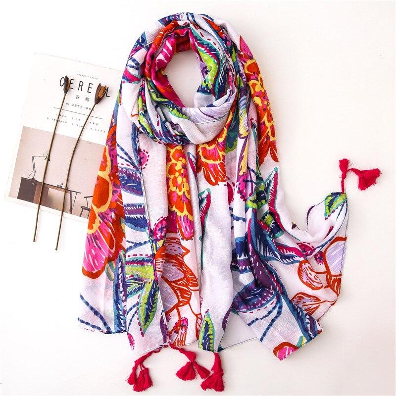 Senhoras espanha moda loverly floral borla viscose xale cachecol feminino alta qualidade envoltório pashmina roubou bufanda muçulmano hijab snood