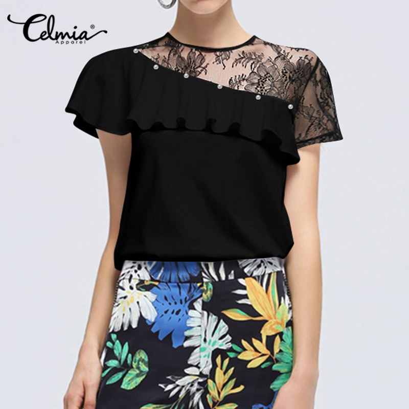 5XL Celmia Women White Lace Patchwork Blouses Summer Short Sleeve Ruffles Shirts Tunic Tops Casual Bead Elegant OL Blusas Femme