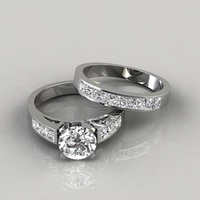 hot sale new zircon ring alloy inlaid diamond couple jewelry