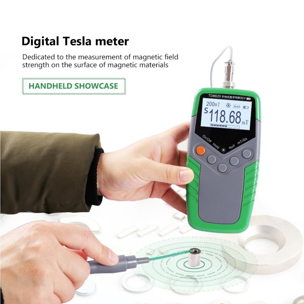 Medidor de flujo magnético permanente Gauss, medidor Digital de mano Tesla, medidor de flujo magnético, medidor de superficie de campo magnético, 5% 2% 1% de precisión