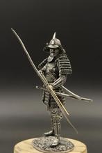 124 skala 75mm Zinn Metall Rüstung Samurai Statuette Figur DIY Montage Japenese Streitenden Krieger Archer Statische Soldat Modell
