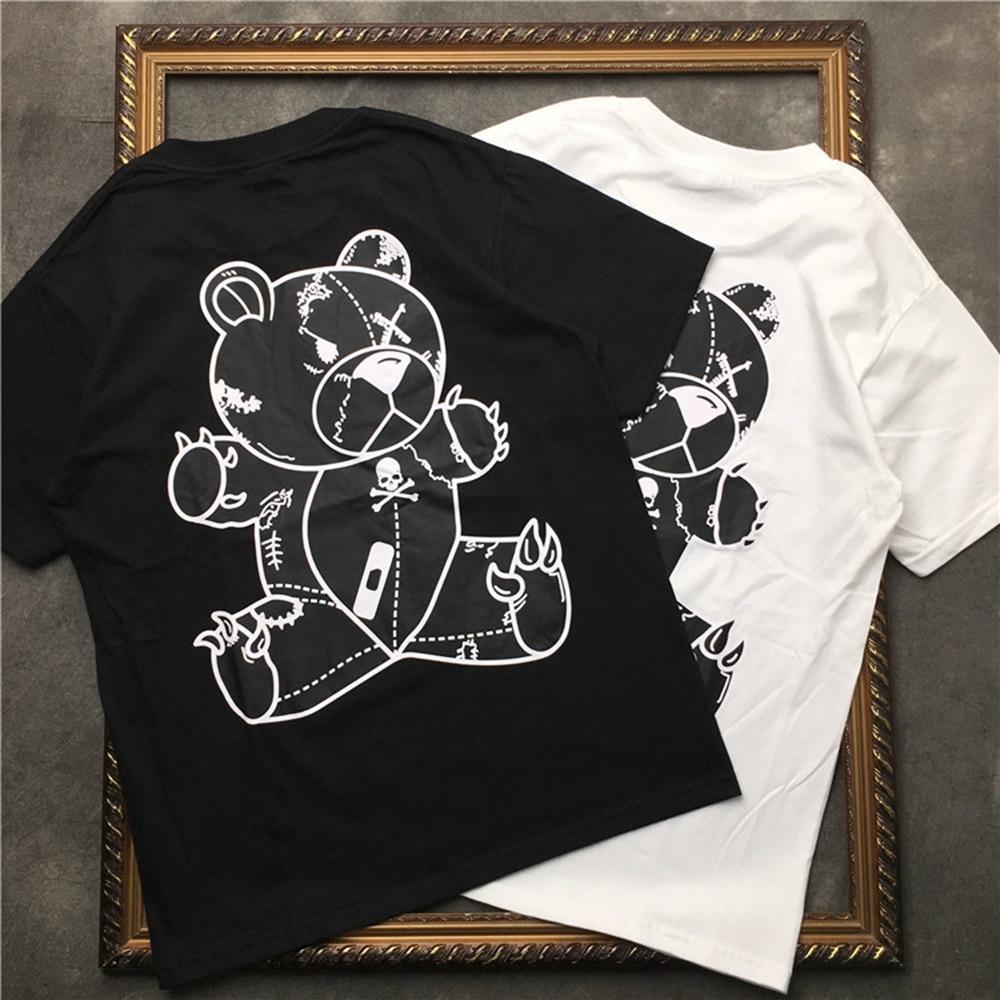 Camiseta de impresión de caricatura de oso cráneo de marcelo Barret para hombre Camiseta de manga corta de algodón para mujer Casual Hip Hop Highstreet camiseta negra