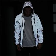New Full Reflective Jacket Men / Women Harajuku Windbreaker Jackets Hooded Hip-hop Streetwear Coats Night Shiny Zipper Jacket
