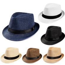 Hot Unisex Frauen Männer Mode Sommer Casual Trendy Beach Sun Stroh Panama Jazz Hut Cowboy Fedora Hüte Gangster