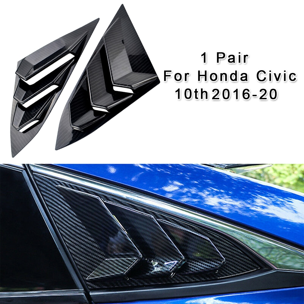 2 pçs pçs/set estilo fibra de carbono janela grelhas capa para honda civic sedan 10th gen 2016 2017 2018 2019 2020 acessórios