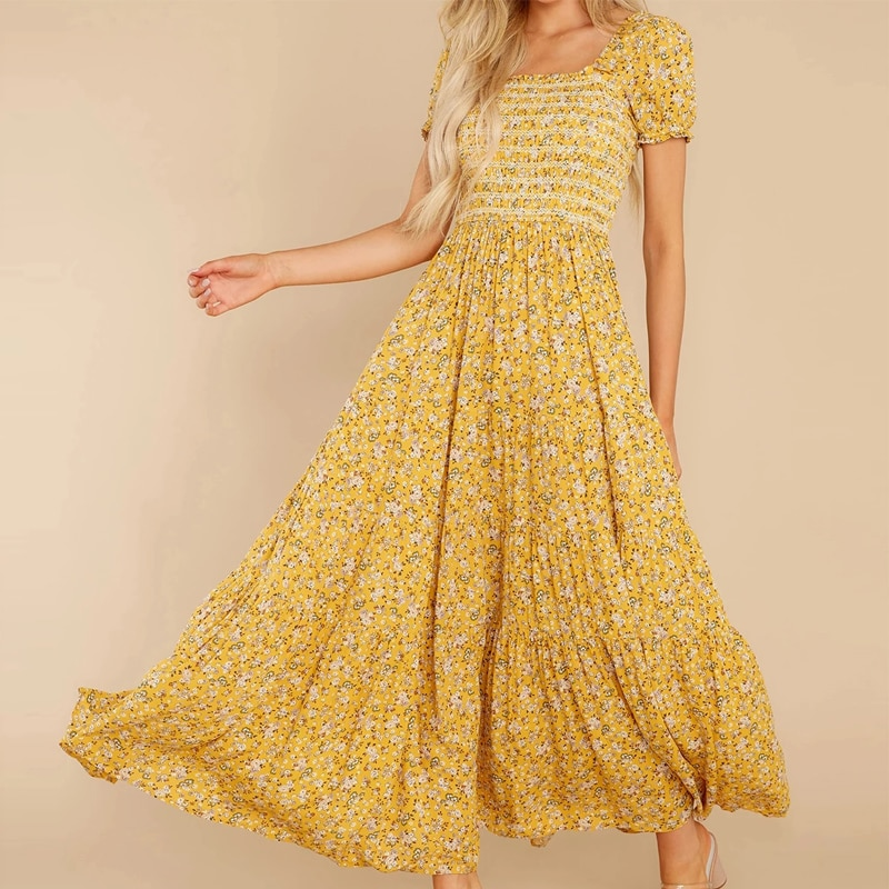 Women Dresses Summer 2021 Square Neck Floral Print Puff Short Sleeve Midi Dress Bohemian Pleated Beach Party Casual