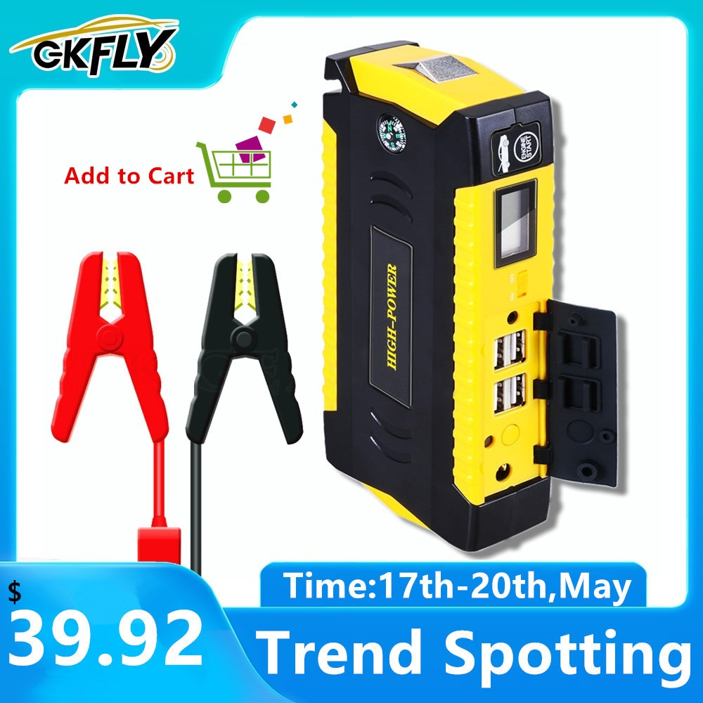 GKFLY Car Jump Starter Power Bank Portable Car Battery Booster Charger 12V Starting Device Petrol Diesel Car Starter Buster