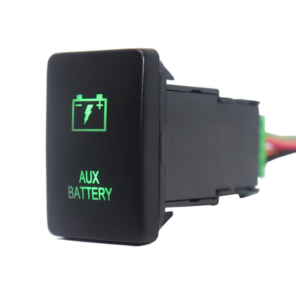 Botón de encendido y apagado de batería auxiliar de 12V, luces LED verdes con cable conector para Toyota Rav4 Prado 150/200 Series Camry Prius C