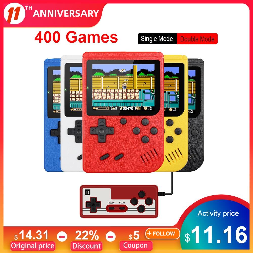 Портативная портативная игровая мини-консоль в стиле ретро, батарея 1020 мАч, цветной ЖК-дисплей 3,0 дюйма, цветная игровая консоль для детей, 400...