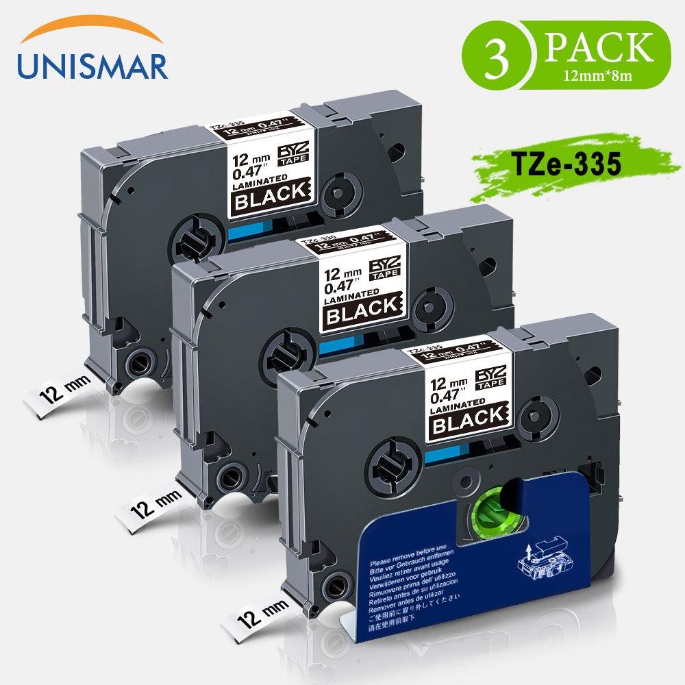 "Unismar 3PK laminada cinta TZe-335, negro sobre blanco, 1/2 ""12mm para reemplazar Brother P-Touch T-E100 PT-E300 PT-E300VP PT-E500 impresora"