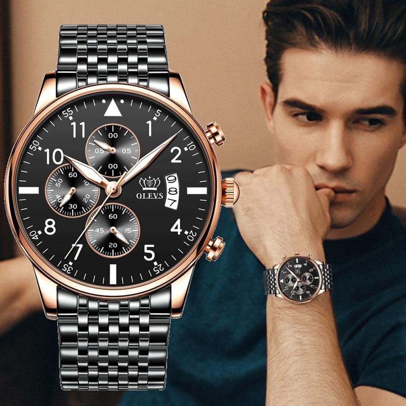 OLEVS أفضل الأصلي ساعة رجالي موضة مقاوم للماء ساعة للرجال متعددة الوظائف كرونوغراف الرياضة ساعة رقمية مضيئة 2869