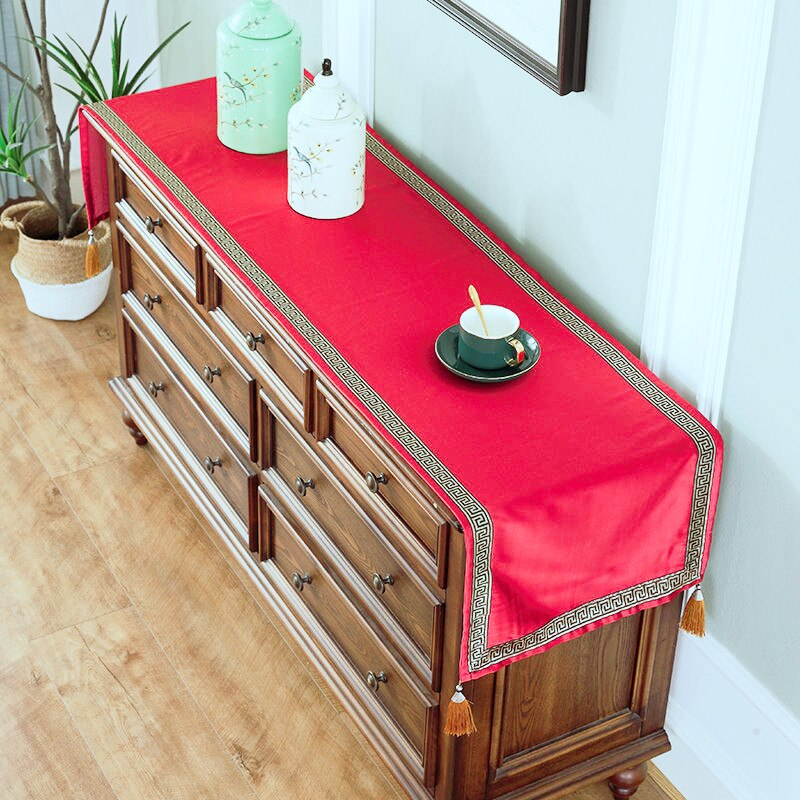 Custom Chinese Luxury Universal Dust Proection Cover Silk Satin Coffee End Table Runner Lengthen TV Cabinet Covers Cloth enlarge