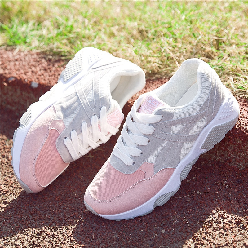 Women Sneakers Breathable Outdoor Walking Shoes Woman Mesh Casual Shoes Pink Lace-Up Ladies Shoes 2020 Fashion Female Sneakers walking shoes reebok club c 85 bs6786 sneakers for female tmallfs