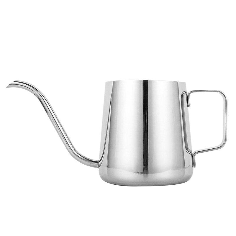 Novo pote de café longo bico estreito (12 oz/350 ml)-304 de aço inoxidável com orelha pendurada mão blunt derramando sobre gooseneck chaleira f