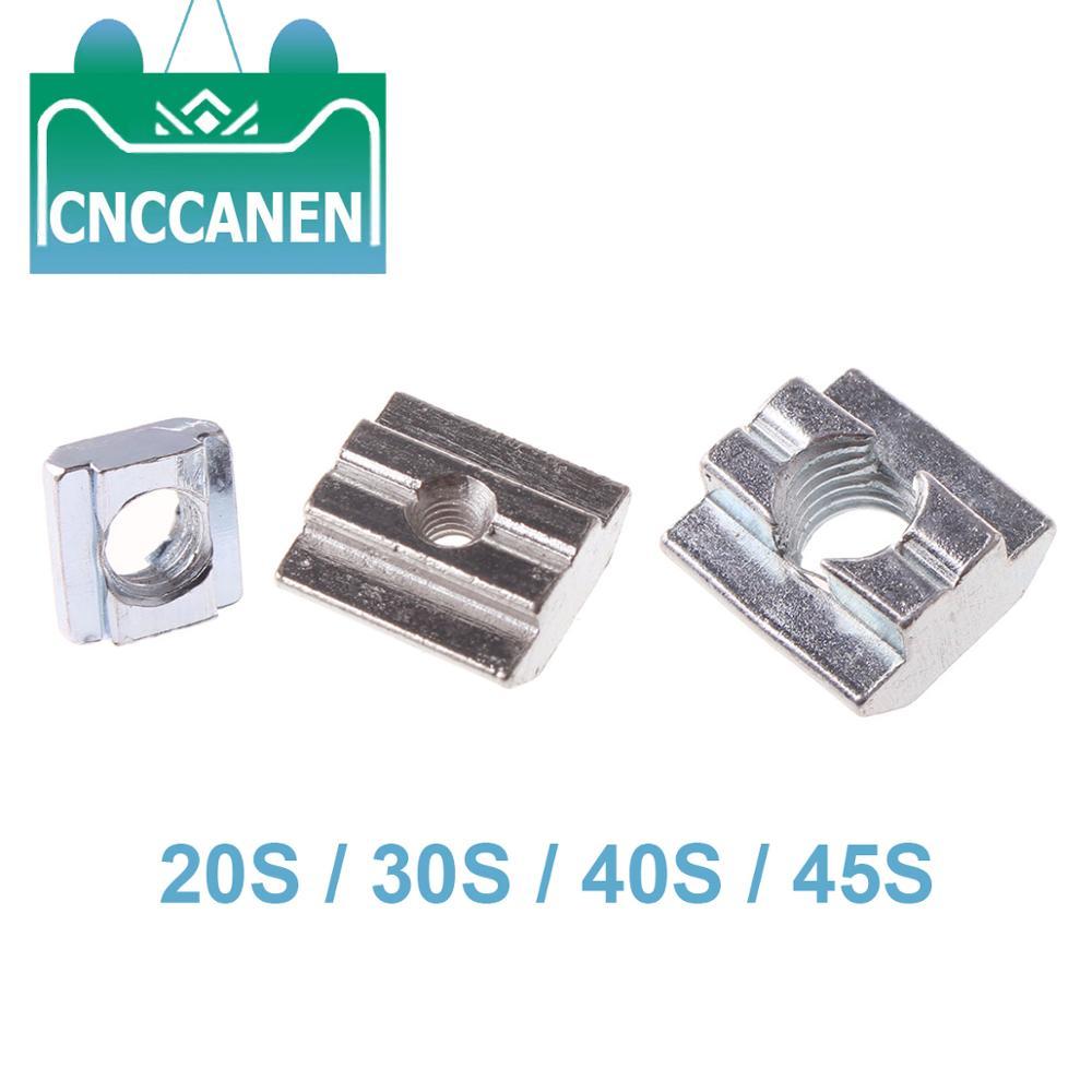 5/10/20/50/100PCS M3 M4 M5 M6 M8 M10 T Block Square Nuts Sliding Hammer Nut for Fastener Aluminum Profile 2020 3030 4040 4545