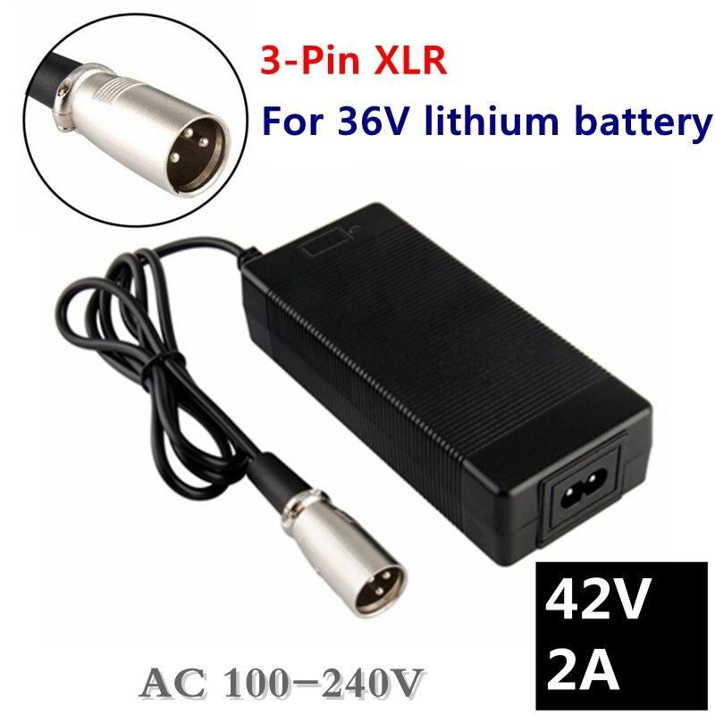 Cargador de batería de litio para bicicleta eléctrica de 36V 42V 2A para batería de litio de 36V con enchufe/conector XLR de 3 pines