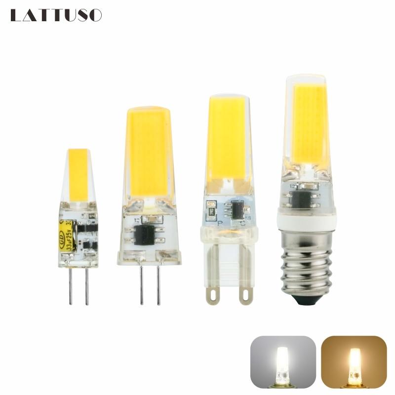 Светодиодная лампа LATTUSO G4 G9 E14 AC/DC 12 В 220 В 3 Вт 6 Вт 9 Вт COB LED G4 G9 Лампа с регулируемой яркостью для хрустальных люстр
