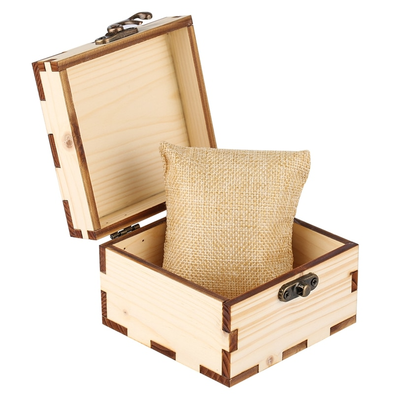 Полностью деревянная квадратная коробка для хранения часов коробка для держатель для наручных часов ретро древний Рог замок Коробка натуральные деревянные часы + Пена Подушка