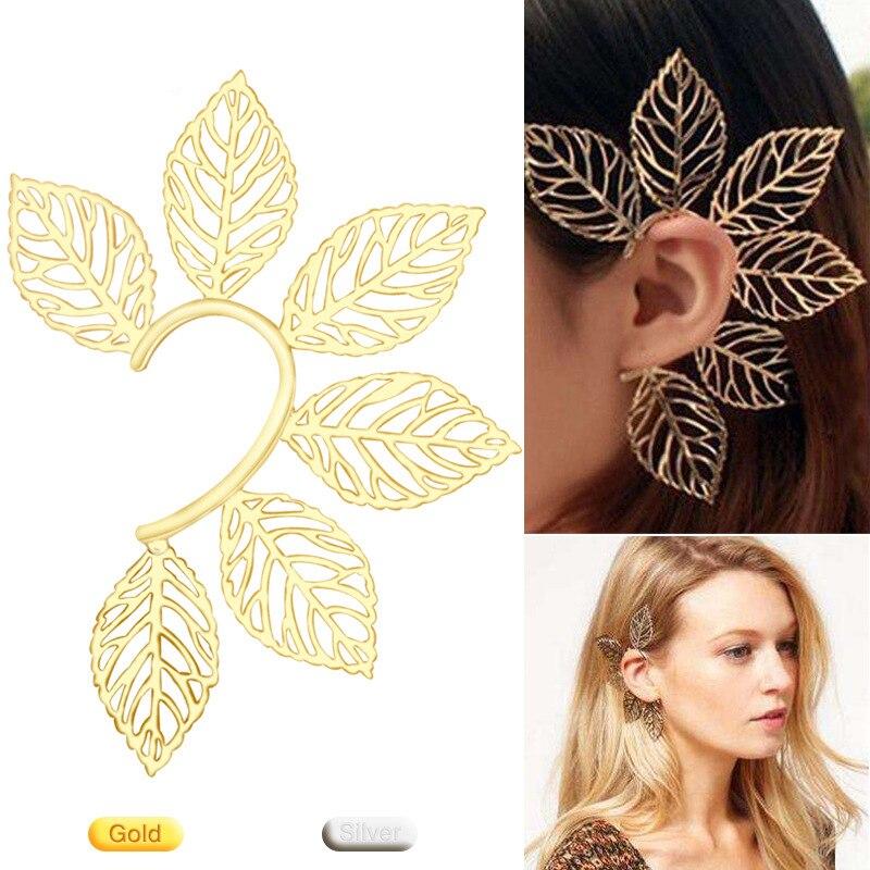 Pendientes de moda europea y americana exagerados con hueco de oro y orejas colgantes de duende para juego de rol