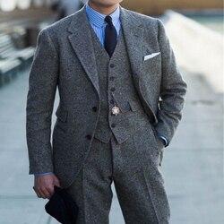 Lã cinza tweed masculino ternos para o casamento entalhado lapela feito sob encomenda 3 peça noivo smoking 2020 homem terno conjunto jaqueta colete com calças