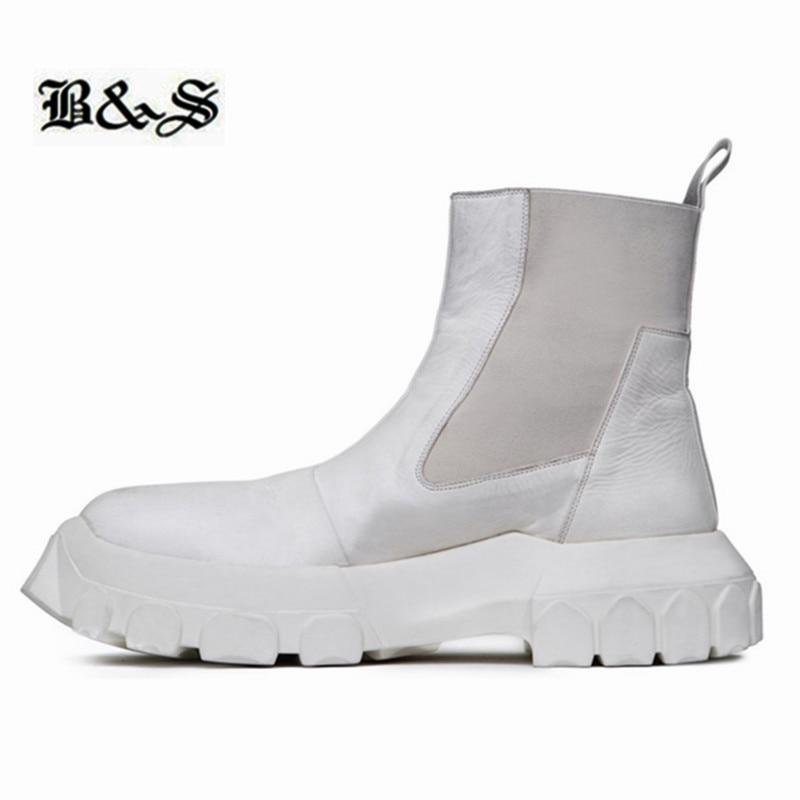 الشارع وأسود جديد الانزلاق على سميكة الوحيد منصة مارتن الأحذية زيادة جلد طبيعي فاسق الشارع اليدوية جديد أحذية
