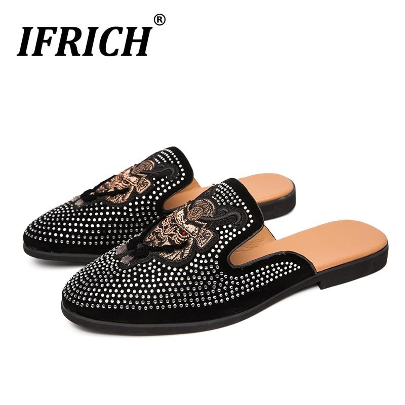 Popular Summer Half slippers For Men Designer Man Slip On Shoes Half Drag Loafers Mens Black Luxury Brand Men Shoes Size 38-45