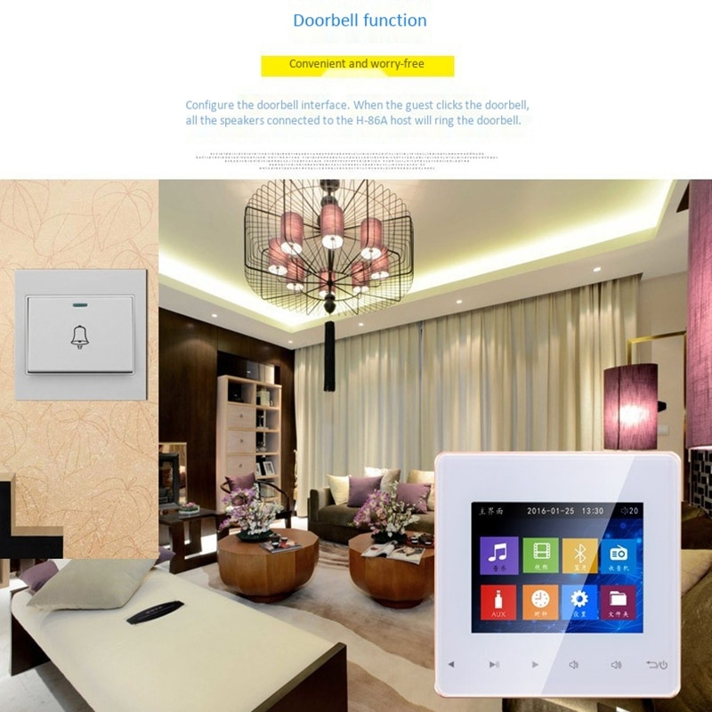 Bluetooth Smart Control Music System Ceiling Speaker Modules Home Audio System Digital Stereo Amplifier in Wall for Hotel enlarge