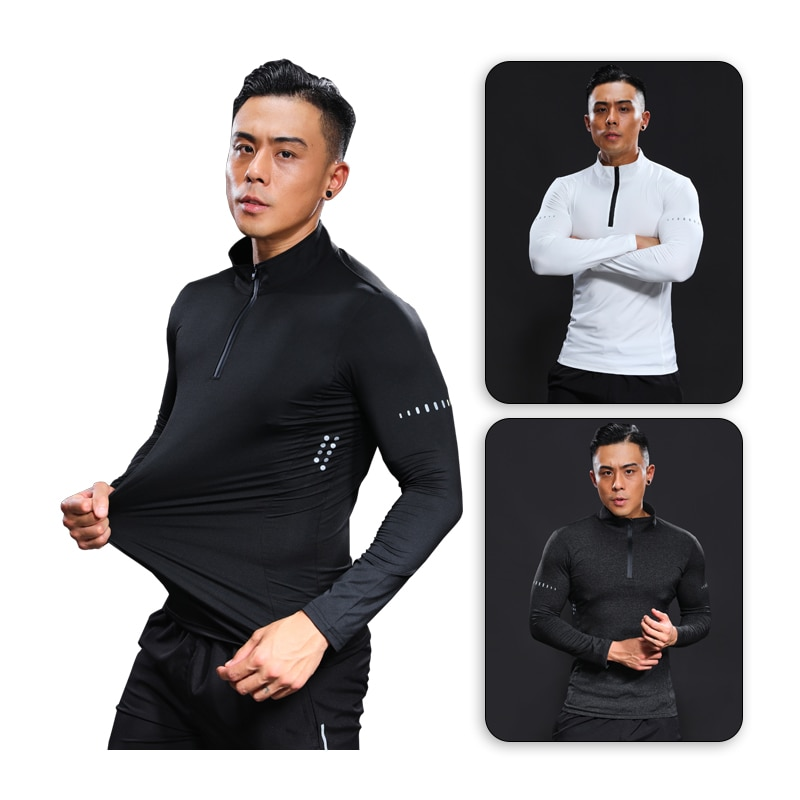 Bodybuilding Langarm Man Compression Fitness Lauf T shirts Quick Dry Basketball Fußball Sport Top Marke Gym Shirt