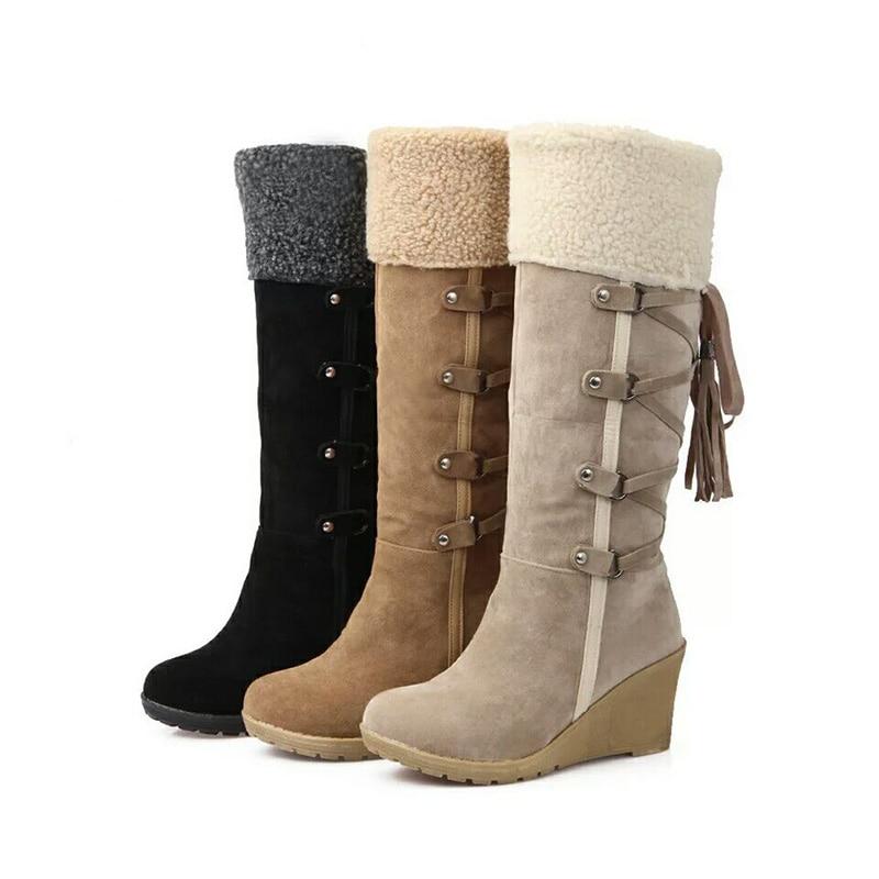 حذاء ثلج نسائي ، حذاء شتوي دافئ من القطن ، بطول الركبة ، 7 سنتيمتر ، YX1940 ، 2020