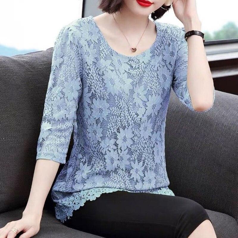primavera verao estilo feminino blusas de renda camisa feminina o pescoco bordado