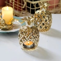 creative hollowed out gold ceramic pineapple wind lamp candle table european luxury home decoration