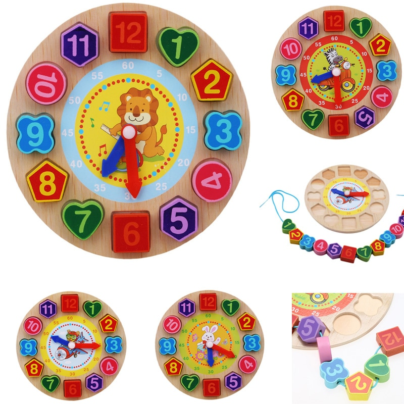 Kids Wooden Puzzle Toys Tangram Cognitive Digital Clock Digital Wood Watch Jigsaw Toys Education Car