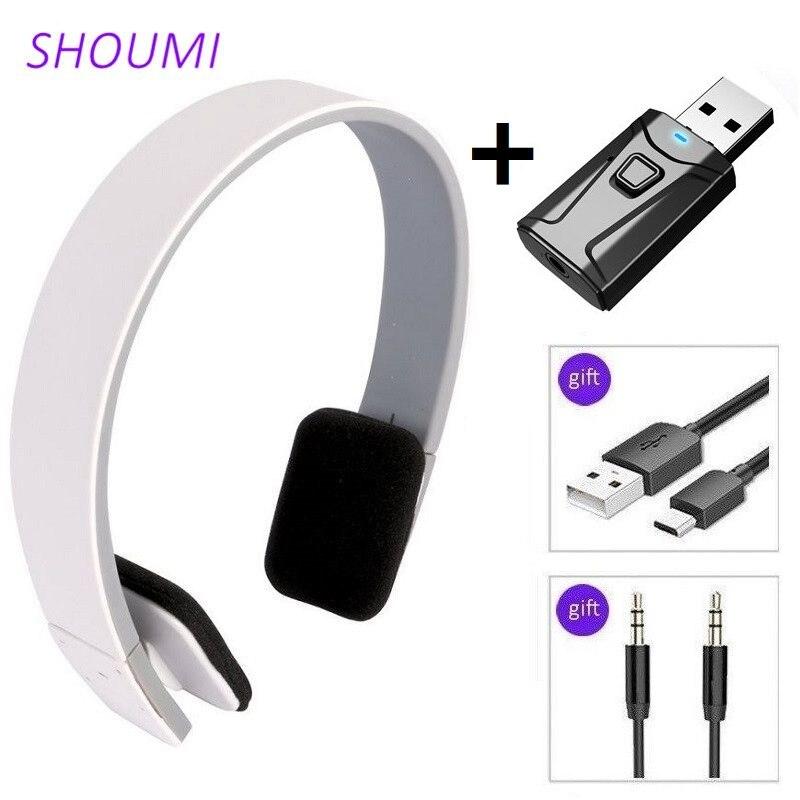Sport Headphones HD Noise Cancelling Earphone Wireless Headset with Bluetooth USB TV Adaptor HiFi Deep Bass Sound for Xiaomi TV