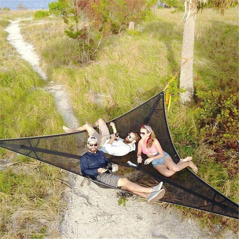 PortableMulti شخص-أرجوحة-مثلث الجوي حصيرة أرجوحة بيت شجرة خيمة السماء الهواء قطرة الشحن أدوات في الهواء الطلق