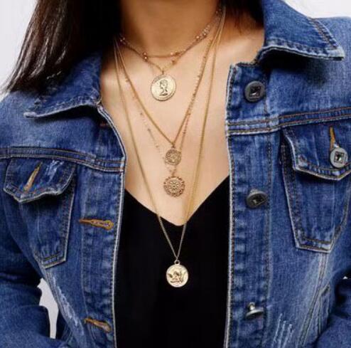 Collar gargantilla de oro con cuentas a la moda, collar de mujer, cadena de plata Vintage, Collares de regalo largos, joyería, collar para mujer 2019