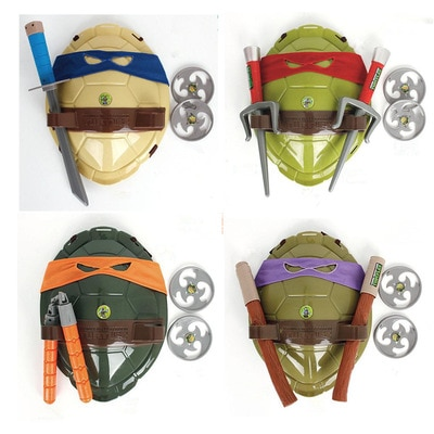 ¡Oferta! Figura DE ACCIÓN DE Ninjas de juguete de dibujos animados tortugas armadura armas Leo Raph Mikey DonFigure Cosplay Shell Props para regalo de niños