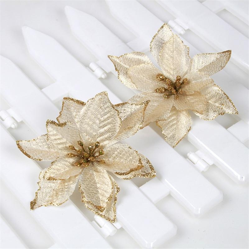 5 unids/set Flor de seda decoración de Navidad árbol de flores colgante de ratán suministros de decoración de fiesta del hogar para fiesta de año nuevo