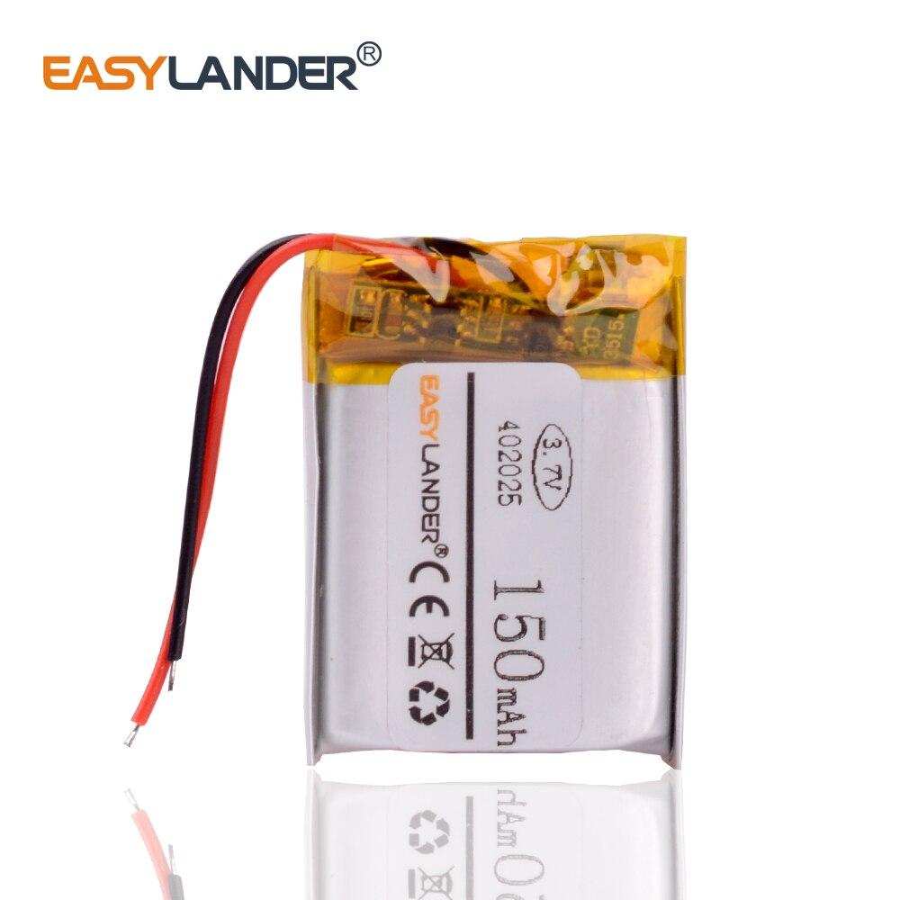 402025  3.7V 150mAh lithium polymer li-Polymer  Battery For mp3 player smart watch Bluetooth headphone headset DVR GPS AHB372026