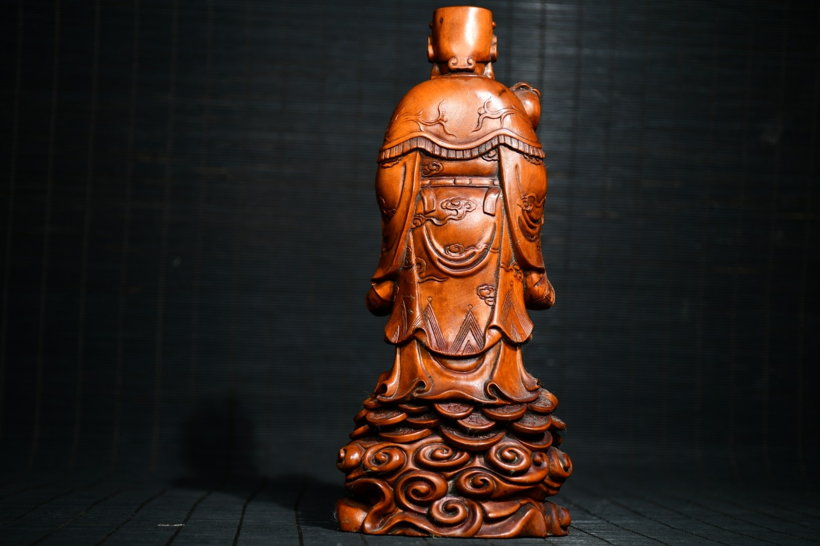 """8"""" China Lucky Seikos Boxwood God of Wealth Statue Wishful Ingots God of Wealth Buddha Statue Lucky fortune"""