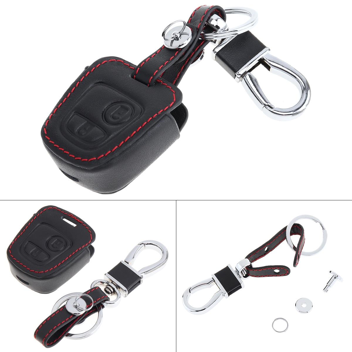 2 botones 3D de cuero de la cubierta de la llave del coche titular del Protector para Peugeot 206 207 307/Elysee/Citroen C1 C2 C3 C4 Xsara Picasso 2000-2009