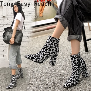 2021 New Leopard Ankle Boots Women for Autumn Winter Fashion Pointed Toe Heel Zipper Woman Party Wedding Boots Plus Size 33-43