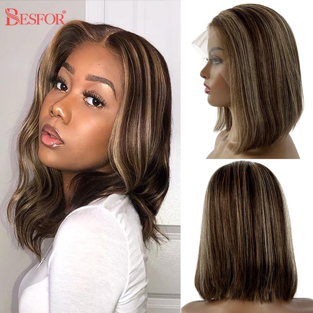Brown Human Hair Bob Wigs Blonde Ombre 13x1 Lace Front Middle T Part Lace Short Cut Wig 180% Density Pre Plucked For Black Women