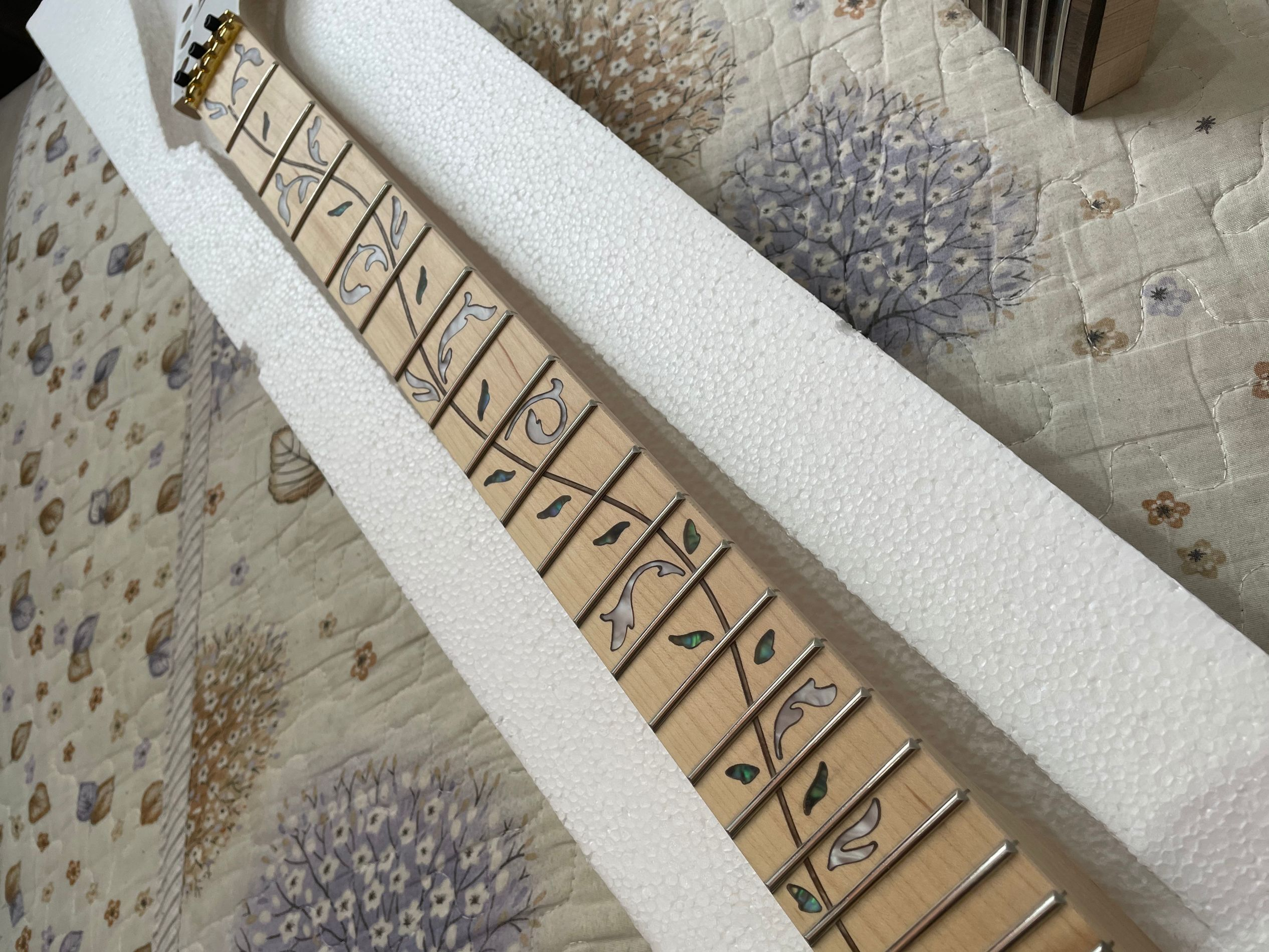 Factory custom maple  fingerboard 24 frets electric guitar neck with the tree of life onlay,21-24 scalloped neck, enlarge