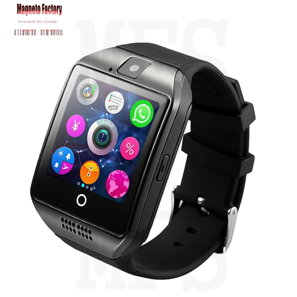 2020 Bluetooth Smart Watch hombres Q18 con cámara Whatsapp Facebook Twitter sincronización SMS Smartwatch soporte tarjeta SIM TF para IOS Android