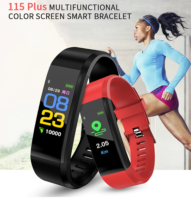 j1 smart wristband color display fitness tracker bracelet heart rate monitor blood pressure ip67 waterproof watches pk fitbits Smart Wristband 115 Plus Blood Pressure Fitness Tracker Smart Bracelet Heart Rate Monitor Activity Tracker Smart Watches relogio